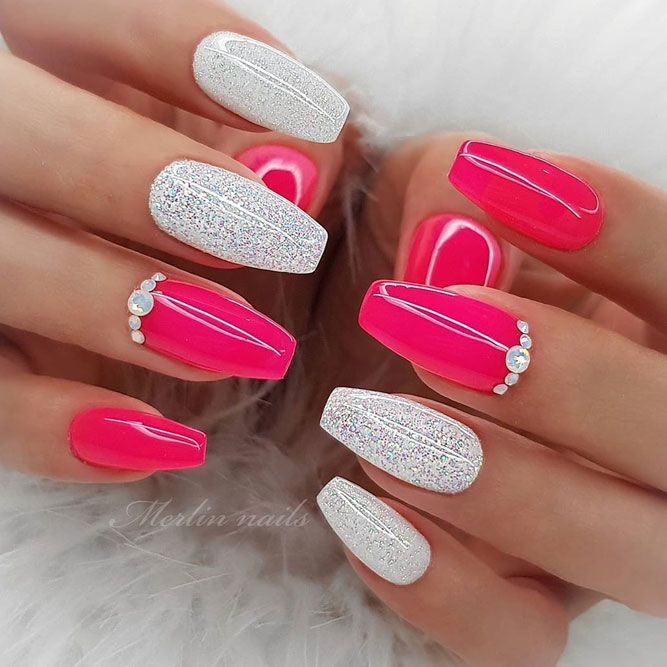 White Pink Combo For Coffin Nails