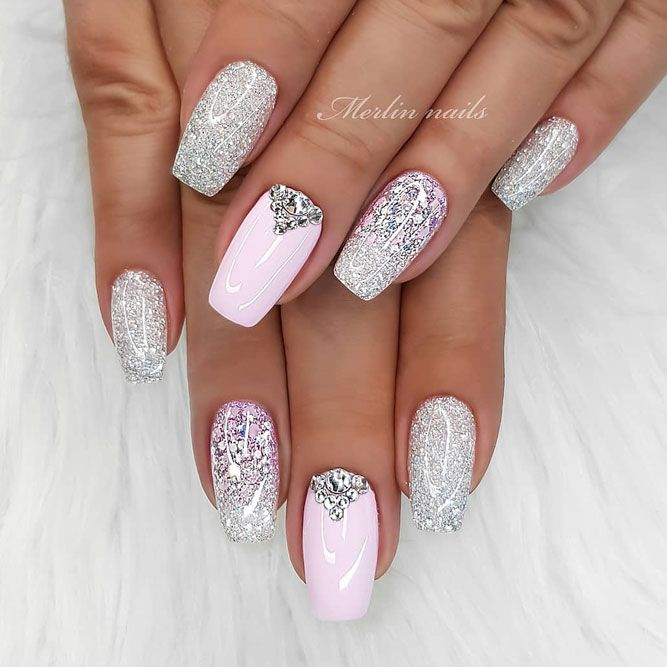 Amazing Silver Glitter With Stones For Coffin Nails