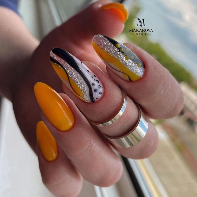 Orange Color for Almond Nails