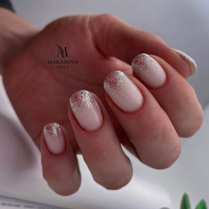 Nude Nails With Glitter Ombre
