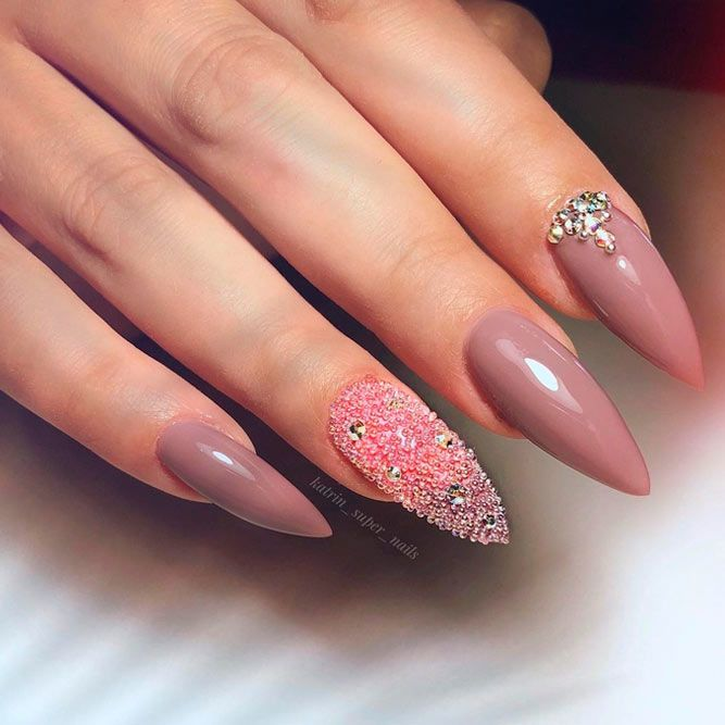 Nude Luxury Mani With Caviar Accents